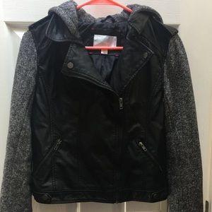 Faux Leather Jacket w/ Knit Sleeves & Hood